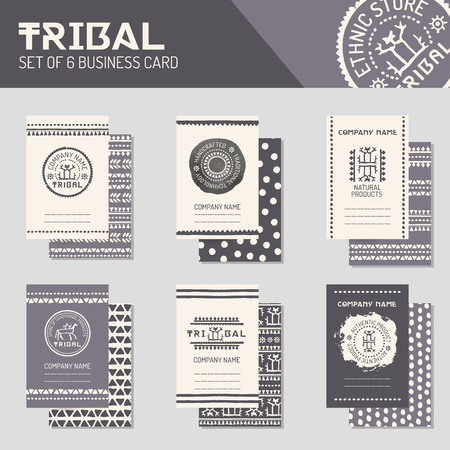 natural products: Ethnic style business template collection. Tribal business cards, flyers, banners with logo templates, endless borders and patterned backsides. Monochrome. Hand drawn layouts for natural products