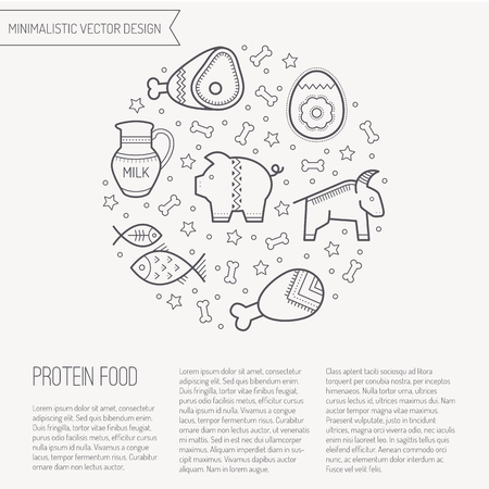fish animal: Vector illustration with outlined protein food signs forming a circle. Black and white color palette. Cute design layout for business Illustration