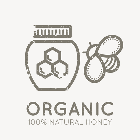 honeyed: Beekeeping emblem with honey bee and jar of honey in flat linear style on a white background. 100 percent  natural organic honey. Grunge texture easy to remove
