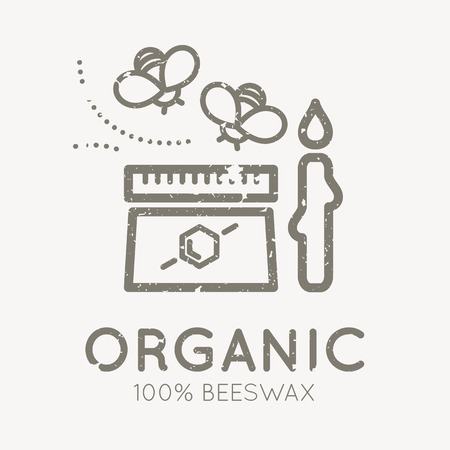 beeswax: Beekeeping emblem with honey bees and a jar of beeswax in flat linear style on a white background. 100 percent natural organic beeswax. Grunge texture easy to remove