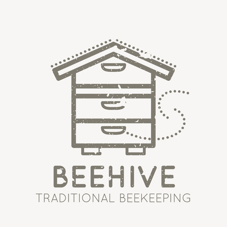 honeyed: Beekeeping emblem with beehive in flat linear style on a white background. 100 percent natural organic honey. Grunge texture easy to remove