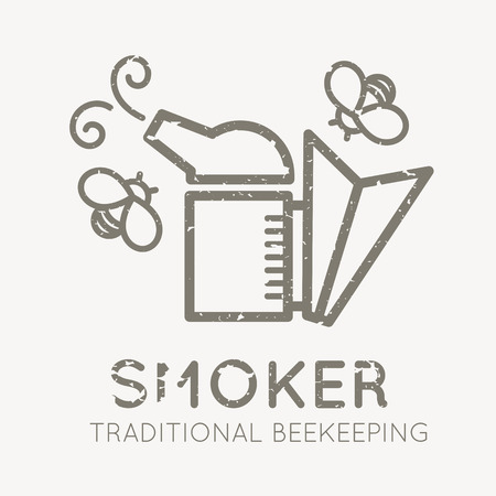 honeyed: Beekeeping emblem with bee smoker in flat linear style on a white background. Traditional beekeeping emblem. Grunge texture easy to remove