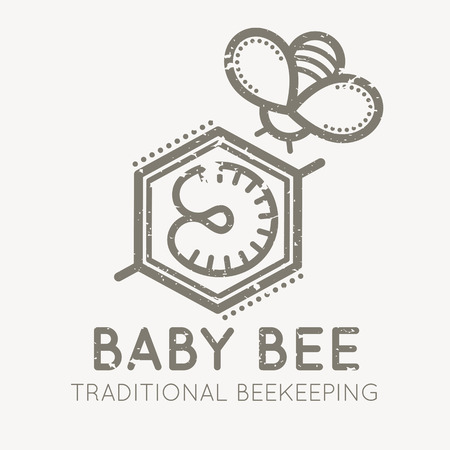 larval: Cute and creative emblem with larval bee (baby bee) for traditional beekeeping. Flat linear style sign on a white background. Grunge texture easy to remove