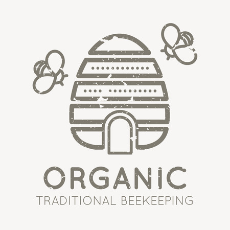 honeyed: Beekeeping emblem with traditional beehive in flat linear style on a white background. Traditional beekeeping. Grunge texture easy to remove Illustration