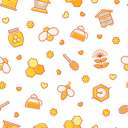 stroked: Seamless honey pattern with stroked beekeeping signs - honey bees, bee cells, honey ladle, honey plants, mother bees. Beekeeping endless texture for business. Warm color palette of yellow tints