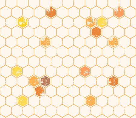 直線的なスタイルの空、塗りつぶされた蜂蜜セルでシームレスな蜂蜜パターン。六角形無限テクスチャです。黄色の濃淡、グランジ テクスチャの暖  イラスト・ベクター素材