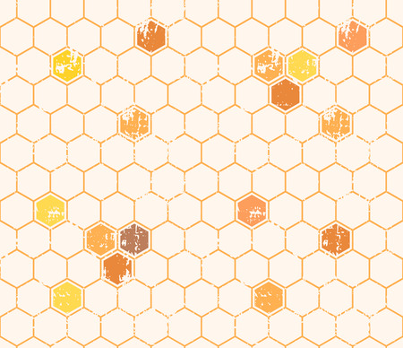 Seamless honey pattern with empty and filled honey cells in linear style. Hexagonal endless texture. Warm color palette of yellow tints, Grunge texture