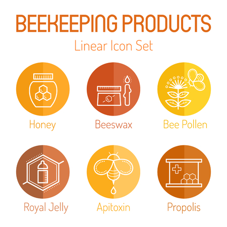 Linear icon set with beekeeping products (honey, beeswax, Bbe pollen, royal jelly, apitoxin, propolis). Thin line style. Bright and warm color palette with tints of yellow and brown