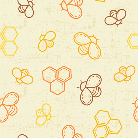 tints: Seamless honey pattern with outlined honey bees and honey cells in linear style. Warm color palette of yellow tints