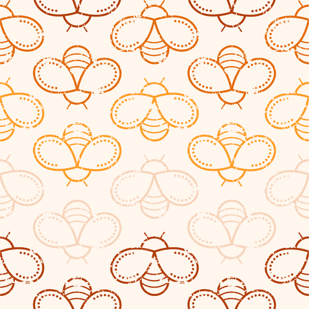 tints: Seamless honey pattern with outlined honey bees in linear style. Warm color palette of honey tints