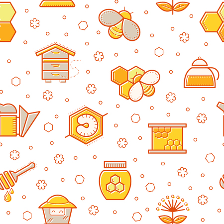 tints: Seamless honey pattern with stroked honey bees, bee cells, beehives and beekeeping signs. Beekeeping endless texture for business. Warm color palette of yellow tints Illustration
