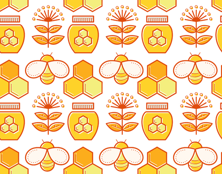 honeyed: Seamless honey pattern with stroked beekeeping signs - honey bees, bee cells, honey jars, honey plants. Beekeeping endless texture for business. Warm color palette of yellow tints