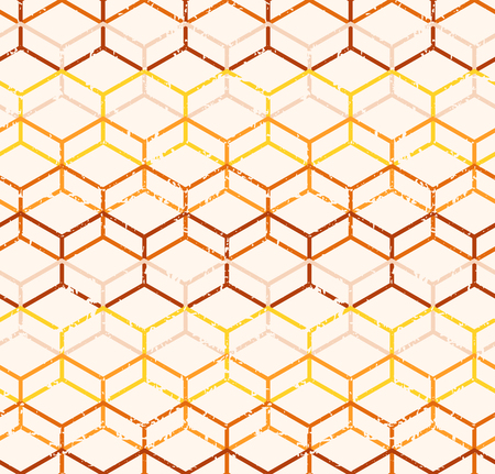 tints: Vector polygonal geometric seamless pattern with grunge texture (damaged). Warmcolor palette, tints of yellow and brown Illustration