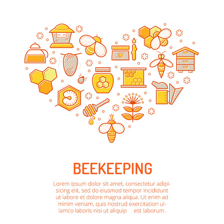 stroked: Vector illustration with stroked colorful honey and beekeeping icons. Beekeeping signs forming a heart shape. Happy warm color palette of gold and orange tints Illustration