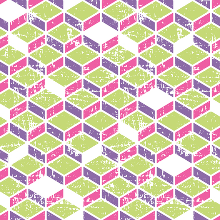 rhombic: Vector tetragonal (rhombic) geometric seamless pattern with grunge texture (damaged). Bright and happy color palette(vibrant pink, purple, apple green)