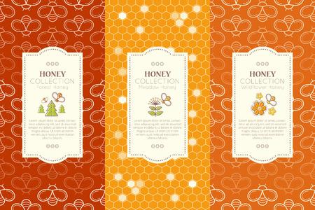 シームレスなパターンを持つベクトル包装テンプレート。天然蜂蜜のコレクション (森の蜂蜜、草原の蜂蜜、ワイルドフラワー蜂蜜 - 蜂蜜の種類)。  イラスト・ベクター素材