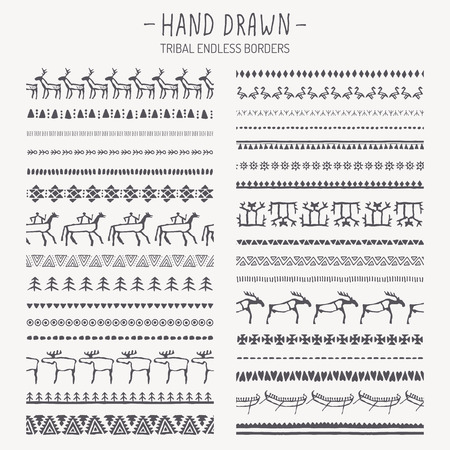 Big set of hand drawn tribal endless borders. Animal and abstract geometric ethnic pattern brushes. Monochrome. European cave painting style Иллюстрация