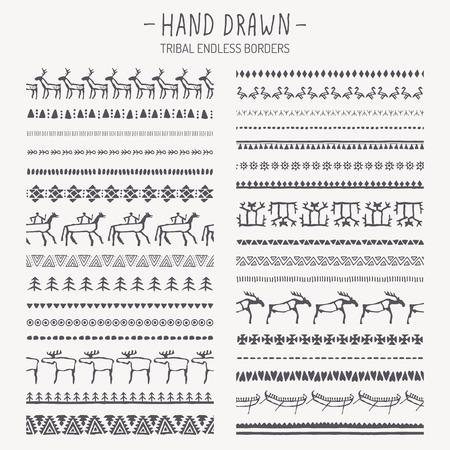peinture rupestre: Big set of hand drawn tribales fronti�res sans fin. Animaux et g�om�triques abstraites brosses � motif ethnique. Monochrome. style europ�en de peinture rupestre