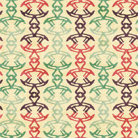 archaic: Tribal seamless pattern with archaic geometric ornament. Primitive ethnic style with abstract endless borders. Vintage color palette with a grunge texture