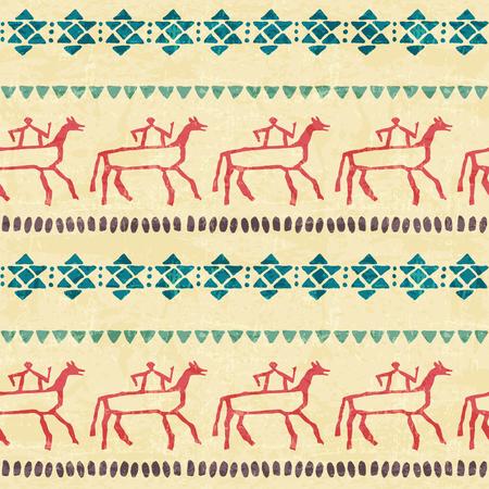 pintura rupestre: Modelo incons�til de la tribu con los jinetes estilizados y el ornamento geom�trico arcaico. estilo �tnico primitivo dibujado a mano con las fronteras sin fin. Vintage (azul y rojo) paleta de colores Vectores