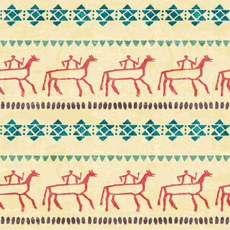 archaic: Tribal seamless pattern with stylized riders and archaic geometric ornament. Primitive ethnic style with hand drawn endless borders. Vintage (blue and red) color palette