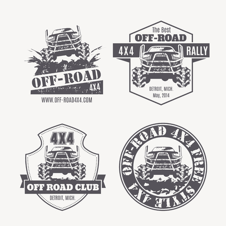 rally: Set of off-road vehicle vector emblems, labels and badges. Off-road club, 4x4 rally, off-road extreme expedition - 4x4 vehicle illustration