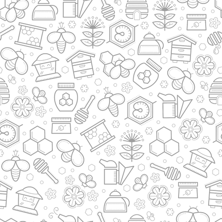stroked: Seamless honey pattern with stroked beekeeping signs - honey bees, bee cells, beehives, honey ladle, honey plants and  flowers. Beekeeping endless texture for business. Monochrome