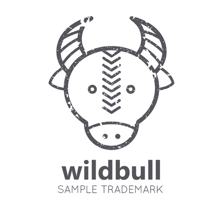 bullock: Animal icon with bullock in flat linear ethnic style. Monochrome, isolated. Grunge texture