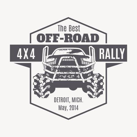 Fuoristrada vettore emblema. Off-road club, 4x4 rally, off-road estremo spedizione - 4x4 illustrazione veicolo Vettoriali