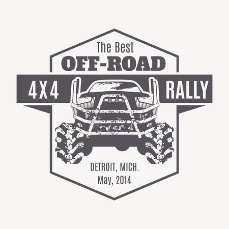 Off-road vehicle vector emblem. Off-road club, 4x4 rally, off-road extreme expedition - 4x4 vehicle illustration Vetores