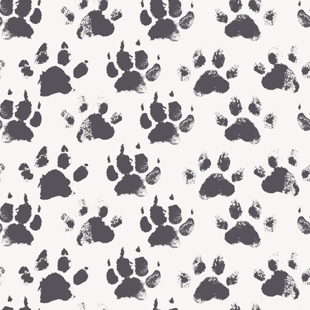 dirty feet: Abstract seamless pattern - black ink prints with messy dog paws. Creative monochrome backdrop with regular animal footprints