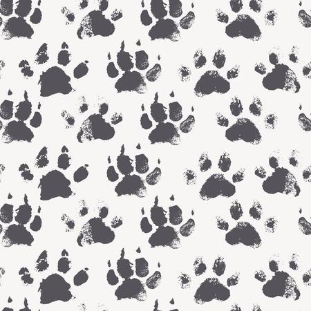 pieds sales: Abstract seamless pattern - impressions d'encre noire avec des pattes de chien désordre. Creative fond monochrome avec des empreintes régulières des animaux