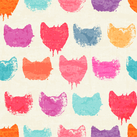 Creative seamless pattern - bright colorful ink prints with messy cat muzzles. Bright and colorful childish backdrop Illustration