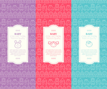 baby goods: Vector packaging template with seamless patterns. Collection for babies (childrens products layout, premium quality). Bright and happy color palette (pink, red, green)