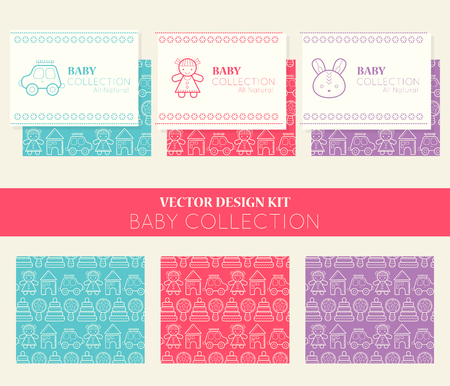 beanbag: Vector design kit with three business card templates and seamless patterns. Collection for children (baby collection, all natural). Bright and happy color palette (pink, red, green) Illustration
