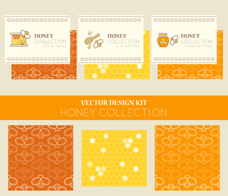 tints: Vector design kit with business card templates and seamless patterns. Natural honey collection (types of honey - chunk honey, liquid honey, creamed honey). Warm color palette of golden tints Illustration
