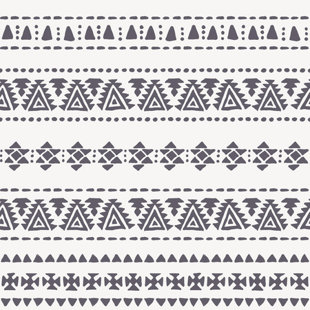 dashes: Tribal seamless background with archaic geometric ornament. Primitive ethnic style with hand drawn abstract elements (triangles, crosses, dots and dashes). Monochrome - black and white