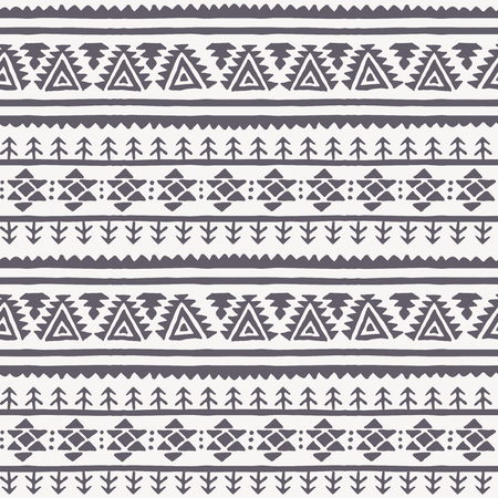 archaic: Tribal seamless background with archaic geometric ornament. Primitive ethnic style with hand drawn abstract elements (fir signs, triangles). Monochrome - black and white