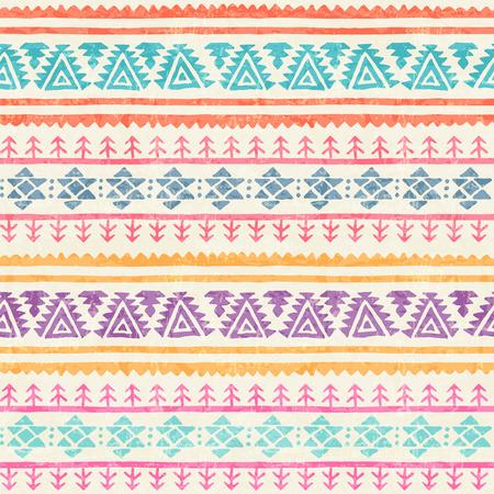 古風な幾何学的な飾りと部族のシームレスなパターン。手で原始的なエスニックなスタイルには、無限の罫線が描かれています。幸せのカラフルな