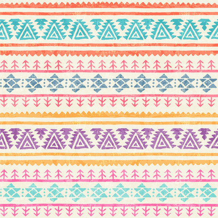 Tribal seamless pattern with archaic geometric ornament. Primitive ethnic style with hand drawn endless borders. Happy colorful color palette