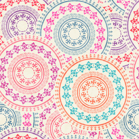archaic: Tribal seamless background with archaic geometric ornament. Primitive ethnic style with hand drawn circles. Happy colorful color palette Illustration