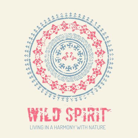 wild living: Tribal background with archaic geometric ornament. Primitive ethnic style with hand drawn circle. Blue and red color palette. Wild spirit - living in a harmony with nature concept