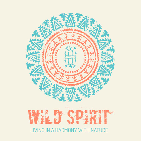 wild living: Tribal background with archaic geometric ornament. Primitive ethnic style with hand drawn circle. Turquoise and orange color palette. Wild spirit - living in a harmony with nature concept