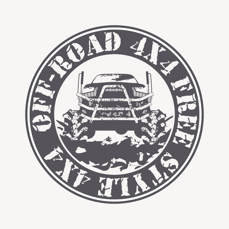 4x4: Off-road vehicle vector emblem. Off-road club, 4x4 rally, off-road extreme expedition - 4x4 vehicle illustration