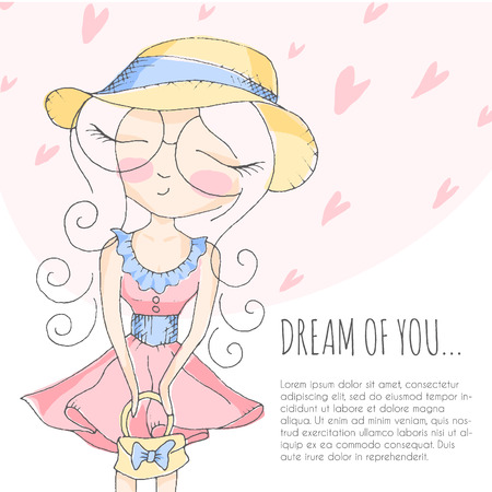 dreaming girl: Cute little girl in big round shape eyeglasses dreaming with closed eyes. Romantic vector illustration, Pastel color palette