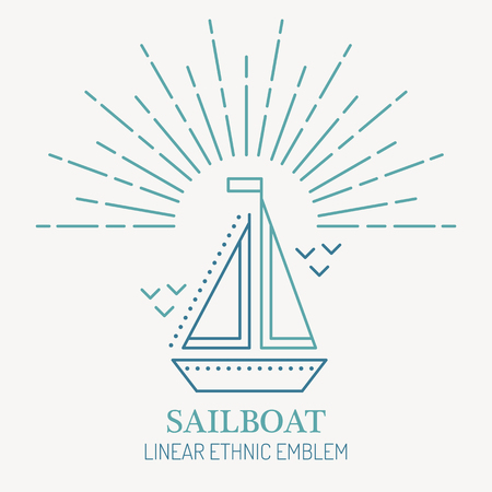 seafaring: Line style nautical emblem - sailboat illustration. Minimalistic outlined icon. Seafaring and voyaging design Illustration