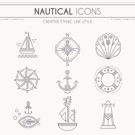 seafaring: Nautical icon set. Collection of creative line style design elements. Minimalistic outlined seafaring icons. Monochrome