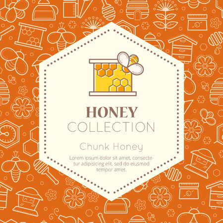 nectar: Vector packaging template with seamless patterns. Natural honey collection (sorts of honey - chunk honey). Warm color palette of golden tints