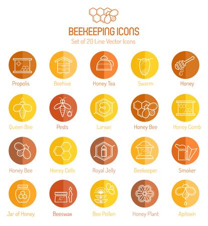 Set van honing en bijenteelt lijn iconen. Minimalistische ronde pictogram set met honingbij en honingraat, Business dunne lineaire stijl.