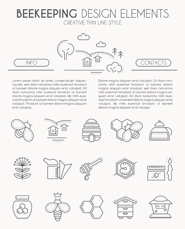 honeyed: Thin line design kit with honey and beekeeping icons. Minimalistic thin line style. Beekeeping farm illustration. Monochrome.